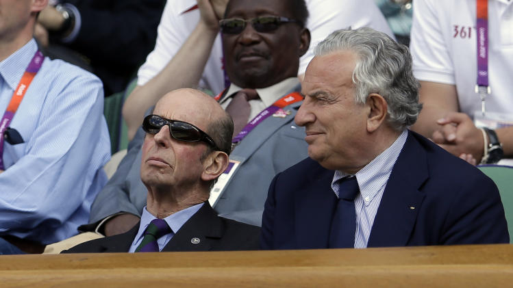 FILE - In this Aug. 5, 2012 file photo, Britain's Prince Edward, Duke of Kent, left, watches the gold medal match between Britain's Andy Murray and Switzerland's Roger Federer at the All England Lawn Tennis Club at the 2012 Summer Olympics, Wimbledon, London. Royal officials said Thursday, March 21, 2013 that Queen Elizabeth II's cousin, the Duke of Kent, has suffered a mild stroke. (AP Photo/Victor R. Caivano, File)
