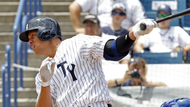 New York Yankees' Alex Rodriquez bats in the fourth inning for the Tampa Yankees against the Dunedin Blue Jays in a minor league rehab game in Tampa, Fla., Wednesday, July 10, 2013. (AP Photo/Scott Iskowitz)