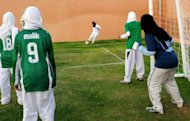 Saudi members of the King's United women football club train at a stadium in the Red sea port of Jeddah. Saudi Arabia forbids public displays of female sports, and state television is banned from airing tennis matches in which women compete -- even if they can be seen on satellite television across the kingdom