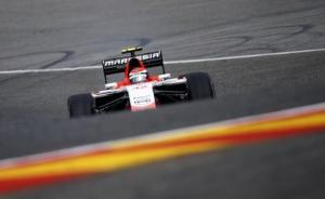 Marussia Ferrari Formula One driver Rossi of the U.S. drives during the first practice session at the Belgian F1 Grand Prix in Spa-Francorchamps