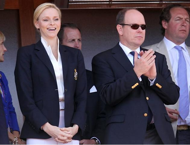 (LtoR) Charlene Of Monaco And Prince's Albert II Of Monaco Attend The Monte-Carlo ATP Masters Series Tournament Tennis AFP/Getty Images