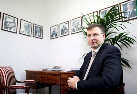European Commission Vice President Valdis Dombrovskis attends an interview in Rome