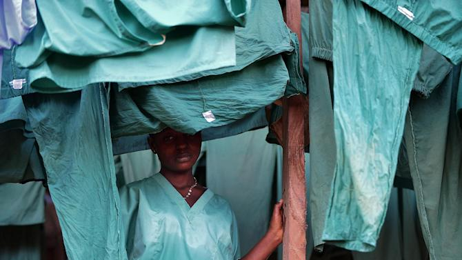 A medical worker at an Ebola treatment facility run by Medicins Sans Frontieres in Kailahun, Sierra Leone, August 14, 2014