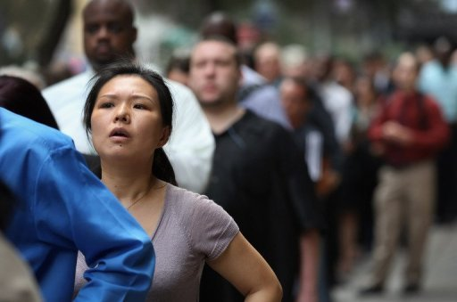 <p>Job seekers line up to attend a career fair in August 2012 in New York City. The US private sector stepped up hiring more than expected last month, a closely watched survey showed Thursday on the eve of the much-awaited August government jobs report Friday.</p>