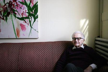 Albert Maysles poses for a picture at his offices in New York