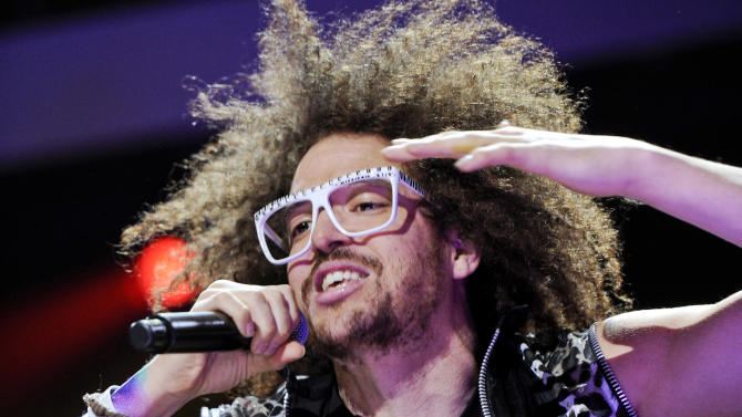 FILE - This Dec. 9, 2011 file photo shows singer RedFoo of LMFAO performing at Z100's Jingle Ball concert at Madison Square Garden in New York. Redfoo is still party rocking, but these days, he's doing it without his partner-in-fun, Sky Blu.  Redfoo says he and Sky Blu _ who is also his nephew _ are taking a break as they focus on their own interests, personally and professionally.  (AP Photo/Evan Agostini, file)