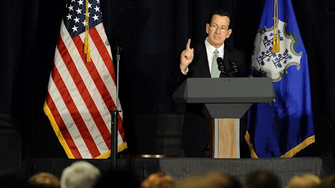 Connecticut Gov. Dannel P. Malloy speaks at a gun violence conference in Danbury, Conn., Thursday, Feb. 21, 2013. The conference was held near Newtown, Conn. where 26 lives were lost in the Sandy Hook Elementary School shooting, was organized by members of the state's congressional delegation is to push President Barack Obama's gun control proposals. (AP Photo/Jessica Hill)