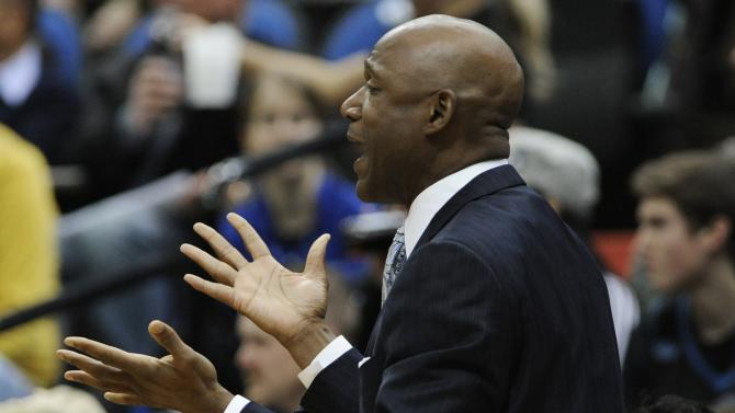 Minnesota Timberwolves acting head coach Terry Porter questions a call in the first half of an NBA basketball game against the Brooklyn Nets, Wednesday, Jan. 23, 2013, in Minneapolis. The Nets won 91-83. (AP Photo/Jim Mone)