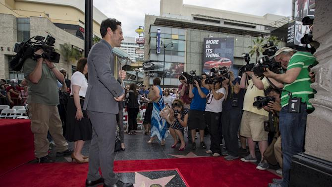 Actor Rudd poses on his star after it was unveiled on the Walk of Fame in Hollywood