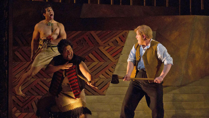 """In this March 13, 2012 photo provided by New Zealand Opera, Nicky Spence, right, as Thomas Mason/Caver and Jonathan Lemalu, center, as Te Kumete/Blackie and Phillip Rhodes, left, as Hohepa perform a scene from """"Hohepa"""" at the Opera House in Wellington, New Zealand. Based on a true story spanning nearly 150 years, """"Hohepa"""" lays bare some of New Zealand's most painful wounds - and seeks to heal them through music. The opera, given its world premiere Thursday, March 15, 2012 as part of this year's New Zealand International Arts Festival, is the creation of composer Jenny McLeod, who wrote both music and text (part English, part Maori). (AP Photo/New Zealand Opera, Marty Melville) EDITORIAL USE ONLY"""