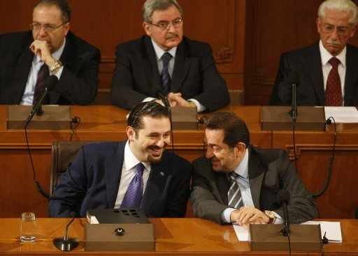 Lebanese former Prime Minister Saad Hariri (L) speaks with Boutros Harb (R) in 2009. A Lebanese MP and core member of the country&#39;s anti-Syrian opposition, Harb escaped an assassination bid on Thursday morning, a high-ranking security official told AFP