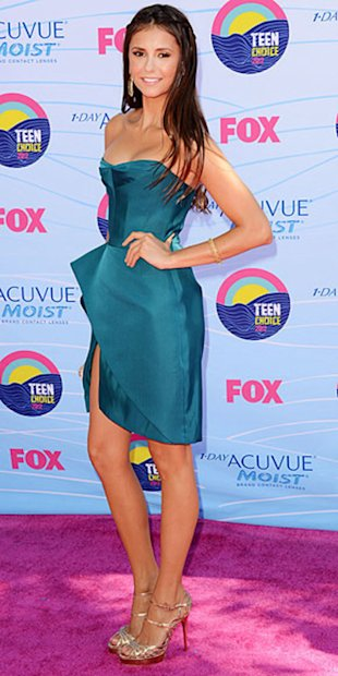 Vampire Diaries' Nina Dobrev looks chic in a teal asymmetrical J. Mendel dress