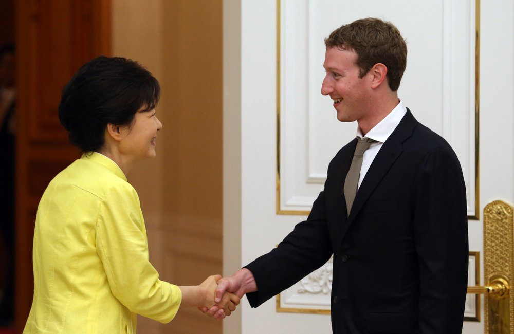 Park Geun-hye and Mark Zuckerberg korea