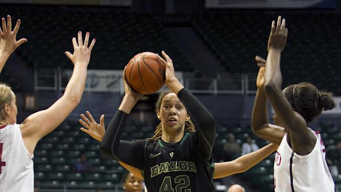 Baylor point guard Brittney Griner (42) shoots over the the Stanford defense during the first half of an NCAA college basketball game on Friday, Nov. 16, 2012, in Honolulu. (AP Photo/Marco Garcia)