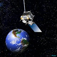 Artist's conception of the GOES-13 satellite in Earth orbit.