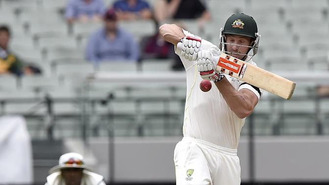 Australia's Shaun Marsh attempts a pull shot against India during the fourth day of their cricket test match in Melbourne, Australia, Monday, Dec. 29, 2014. India are all out for 465 in reply to Australia's first innings of 530. (AP Photo/Andy Brownbill)