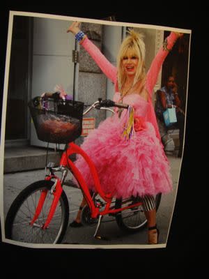 The Spring 2011 Betsey Johnson show was inspired by bicycles. She showed footage of herself with her daughter and grandkids riding around New York City, and the runway was designed to look like a road