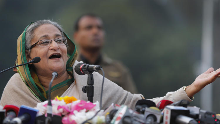 Bangladesh's Prime Minister Sheikh Hasina speaks during a press conference in Dhaka, Bangladesh, Monday, Jan. 6, 2014. On Monday, her ruling Awami League party won one of the most violent elections in the country's history, marred by street fighting, low turnout and a boycott by the opposition that made the results a foregone conclusion. (AP Photo/Rajesh Kumar Singh)