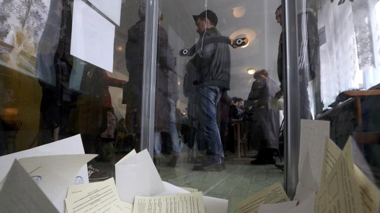 Ballots are seen inside a box during the referendum on the status of Ukraine's Crimea region at a polling station in Bakhchisaray