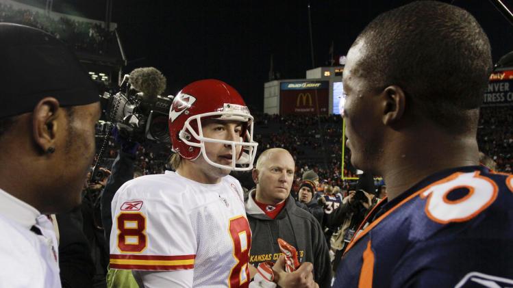 Kansas City Chiefs quarterback Kyle Orton (8) greets Denver Broncos wide receiver Demaryius Thomas (88) after after their NFL football game, Sunday, Jan. 1, 2012, in Denver. Kansas City won 7-3. (AP Photo/Joe Mahoney)