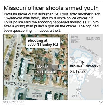 Map locates Berkeley, Missouri shooting.; 2c x 4 inches; 96.3 mm x 101 mm;