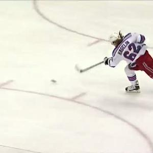 Hagelin blasts a shot on the break by Fleury