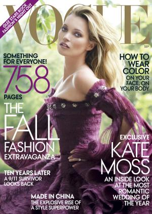 "In this magazine cover image taken by Mario Testino for Vogue, model Kate Moss is shown on the cover of the September 2011 issue of ""Vogue,"" available on newsstands nationwide on Aug. 23. (AP Photo/Vogue, Mario Testino)"