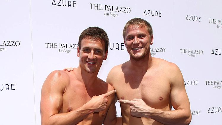 Ryan Lochte, Matt Haupt swimmers celebrate their Olympic success by hosting a day at Azure Pool inside The Palazzo Resort Hotel & Casino Las Vegas, Nevada - 18.08.12 Mandatory Credit: Judy Eddy/WENN.com