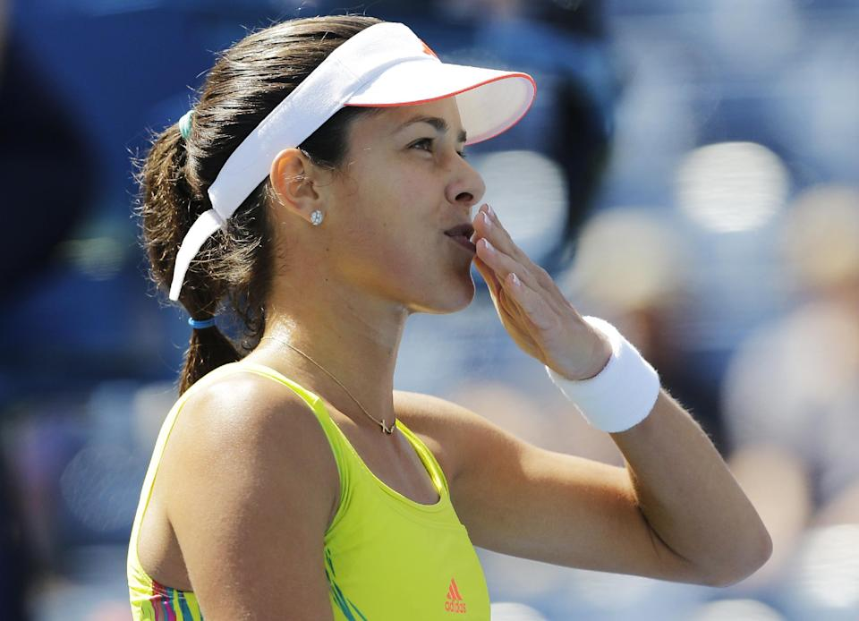 Serbia's Ana Ivanovic reacts after winning her match against Sweden's Sofia Arvidsson in the second round of play at the 2012 US Open tennis tournament,  Thursday, Aug. 30, 2012, in New York. (AP Photo/Mike Groll)