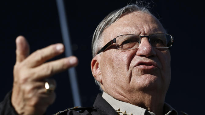 FILE-This Jan.9,2013 file photo shows Maricopa County Sheriff Joe Arpaio speaking with the media in Phoenix. Authorities say law officers in Arizona have intercepted an explosive device that was earmarked for Arpaio. (AP Photo/Ross D. Franklin,File)