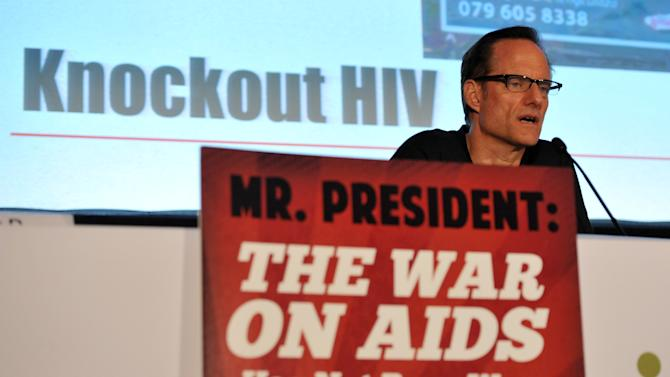 COMMERCIAL IMAGE - In this photograph taken by AP Images for AIDS Healthcare Foundation, Michael Weinstein, President of AIDS Healthcare Foundation, speaks at the Making Safer Sex Sexy panel discussion during the International AIDS Conference, Tuesday, July 24, 2012, in Washington. (Larry French/AP Images for AIDS Healthcare Foundation)