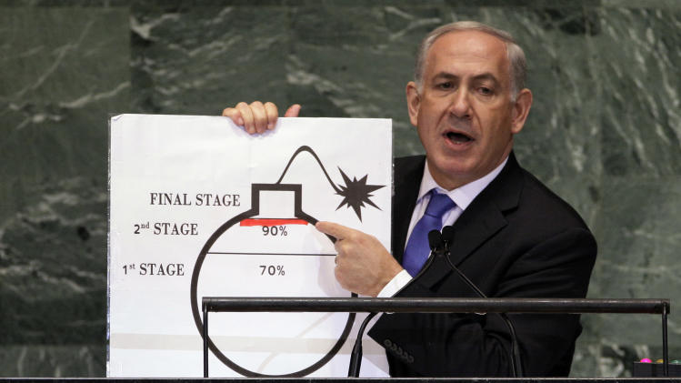 File - In this Sept. 27, 2012 file photo, Prime Minister Benjamin Netanyahu of Israel shows an illustration as he describes his concerns over Iran's nuclear ambitions during his address to the 67th session of the United Nations General Assembly at U.N. headquarters. Israeli Prime Minister Benjamin Netanyahu provided the U.N. with a memorable moment with a cartoon bomb a year ago, and he can be expected to again call for a hard line against Iran's nuclear program backed by the credible threat of force. But the goalposts have moved a little: some at the General Assembly's annual meeting will be calling for a more nuanced approach by the world in response to the emergence of a moderate Iranian president. (AP Photo/Richard Drew, File)