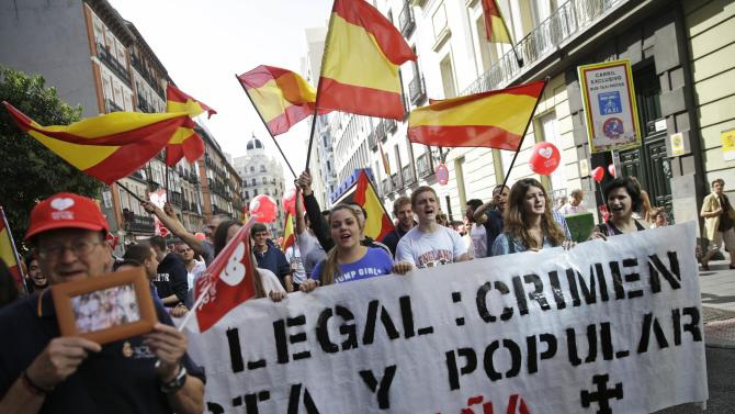 Pro-life demonstrators shout slogans against abortion in central Madrid