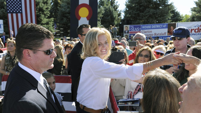 Ann Romney, wife of Republican presidential candidate Mitt Romney, shakes hands with supporters at a campaign event at Hudson Gardens and Event Center in Littleton, Colo., on Tuesday, Oct. 2, 2012.  (AP Photo/Chris Schneider)
