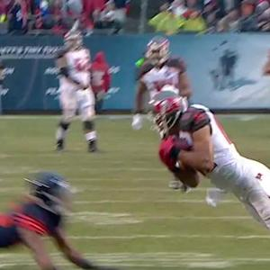 Tampa Bay Buccaneers quarterback Josh McCown fires deep to wide receiver Vincent Jackson for 40 yards