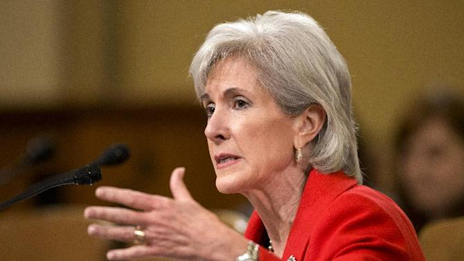FILE - In this April 12, 2013 file photo, Health and Human Services (HHS) Secretary Kathleen Sebelius testifies on Capitol Hill in Washington before the House Ways and Means Committee hearing on President Barack Obama's budget proposal for fiscal year 2014, and the HHS.  Hospitals within the same city sometimes charge tens of thousands of dollars more for the same procedure, figures the government released for the first time Wednesday show. The list sheds light on the mystery of just how high a hospital bill might go and whether it's cheaper to get that care somewhere else.  (AP Photo/J. Scott Applewhite)