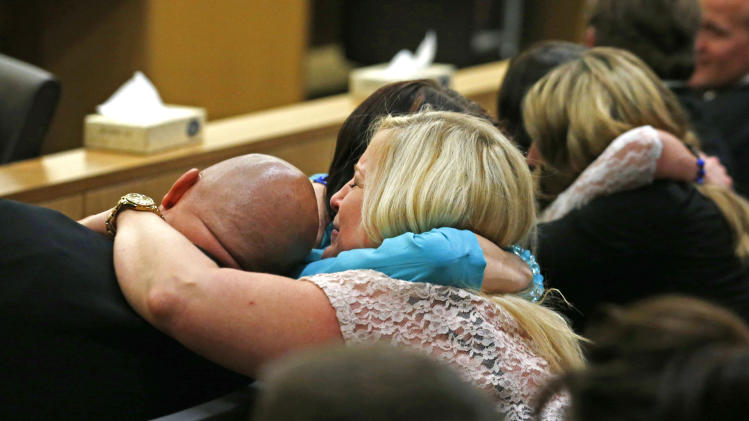 AP10ThingsToSee - Family and friends of Travis Alexander, the one-time boyfriend of Jodi Arias, react after Arias was found guilty of his killing, Wednesday, May 8, 2013, in Phoenix. The jury had to decide between first-degree murder, second-degree murder, manslaughter or acquittal. They returned a first-degree murder conviction. (AP Photo/The Arizona Republic, Rob Schumacher, Pool, File)