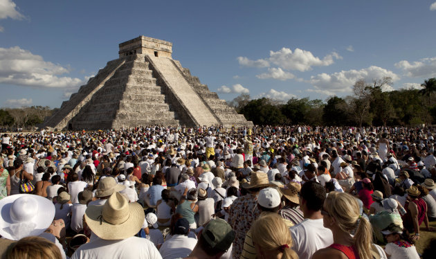 People look at the pyramid …