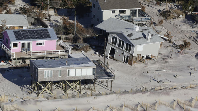 FILE - This Jan. 18, 2013 aerial file photo shows storm-damaged homes in Fire Island, N.Y. Sen. Charles Schumer (D-NY) said that the Sandy federal aid bill, scheduled for a vote Monday, Jan. 28, provides for more than $1 billion for projects to shield the coastline of New York City and Long Island. (AP Photo/Mark Lennihan, File)