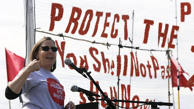 Greenpeace USA Executive Director Annie Leonard speaks during a protest of the Polar Pioneer, an oil rig leased by Royal Dutch Shell Plc that is bound for the Arctic, at a rally and march in Seattle, Washington