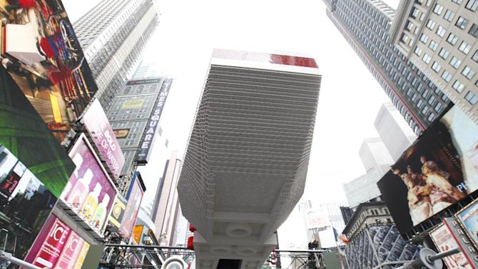 The back of the world's largest LEGO Model is seen, a 1:1 replica of the LEGO Star Wars X-wing Starfighter that took 32 Model Builders, 5.3 million LEGO bricks and over 17,000 hours to complete, in New York City's Times Square, Thursday May 23, 2013. (Amy Sussman/AP Images for The LEGO Group)