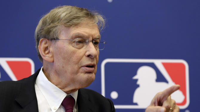 Commissioner Bud Selig answers a question during a news conference at Major League Baseball headquarters, in New York,  Thursday, May 16, 2013. Major League Baseball hopes to expand video review by umpires for the 2014 season and says all calls other than balls and strikes could be subject to instant replay. (AP Photo/Richard Drew)