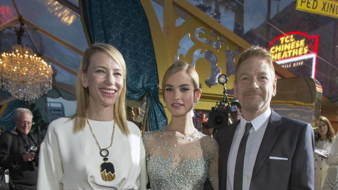 "Director Kenneth Branagh poses with Cate Blanchett and Lily James at the premiere of ""Cinderella"" at El Capitan theatre in Hollywood"