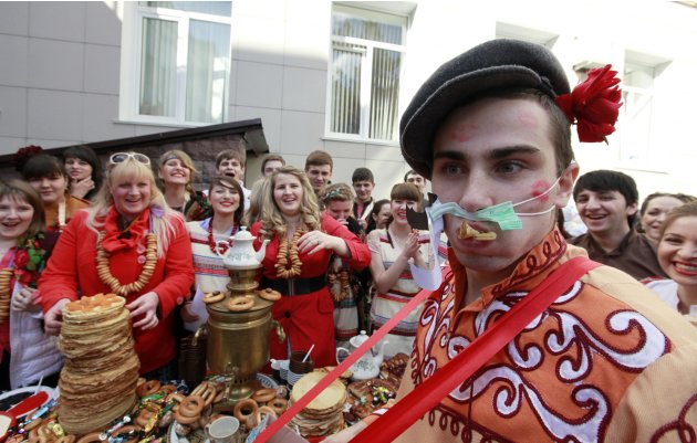 Students of a medical academy celebrate Maslenitsa, or Pancake Week, in Stavropol