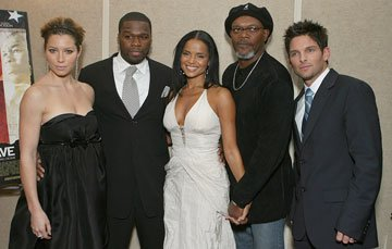 Jessica Biel , 50 Cent , Victoria Rowell , Samuel L. Jackson and Brian Presley at the Los Angeles premiere of MGM's Home of the Brave