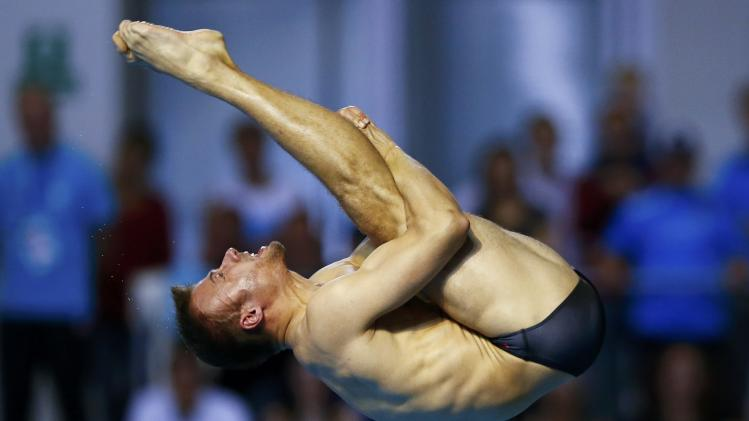 Klein of Germany performs during the men's 10m platform final at the European Swimming Championships in Berlin