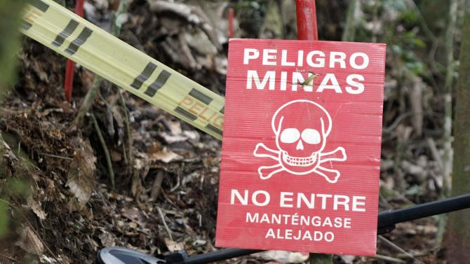 A member of the Humanitarian Demining Battalion of the Columbian Army searches for landmines in Cocorna