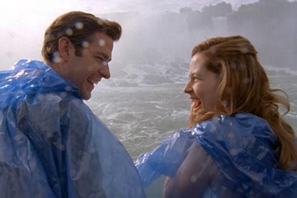 Pam and Jim (The Office):  After inviting friends and family to Niagara Falls, the wedding festivities quickly spiral once Jim accidentally reveals Pam's pregnancy. In a moment of spontaneity, the two