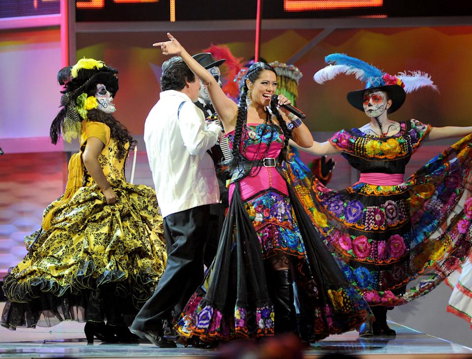 Lila Downs performs at the 13th Annual Latin Grammy Awards at Mandalay Bay on Thursday, Nov. 15, 2012, in Las Vegas. (Photo by Al Powers/Powers Imagery/Invision/AP)
