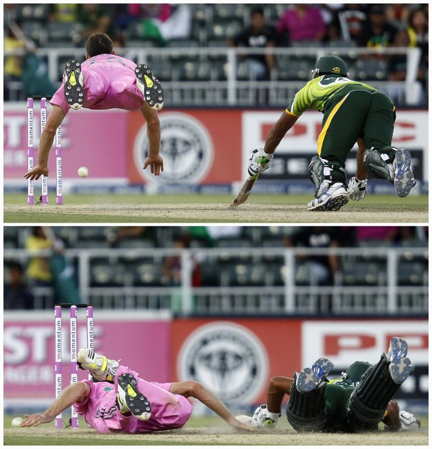Combination photo of South Africa's Ryan McLaren attempting to run out Pakistan's Wahab Riaz during their third ODI cricket match in Johannesburg